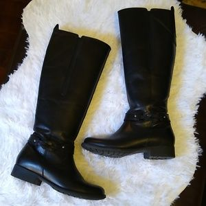 Clarks Black Waterproof Leather Riding Boots (5.5)